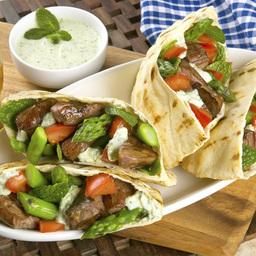 Grilled Lamb and California Asparagus Pitas with Tsatsiki Sauce