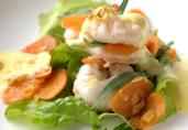 Shrimp with Grapefruit Juice, Carrot Chutney, Rucola and Hot Sabayon