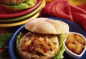 Caribbean Turkey Burgers with Honey Pineapple Chutney