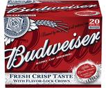Budweiser, Coors Light or Miller Lite 20 Pack