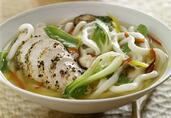 Peppercorn Mélange Chicken and Udon Noodles in Lemon Grass-Sake Broth
