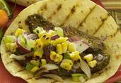 Ancho Adobo Tacos de Bistec with Grilled Corn & Tomatillo Salsa