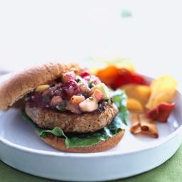 Apple-Turkey Burgers with Cranberry-Apple Salsa