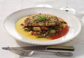 Herb Crusted Turkey Paillard with Crayfish Hash & Asparagus