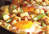 Crispy Potatoes with Green Beans & Eggs